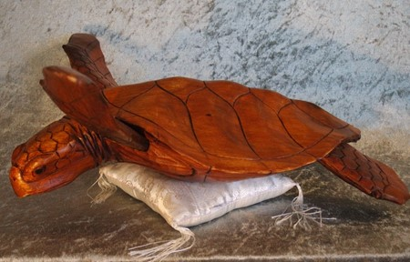 Picture of turtle made of wood