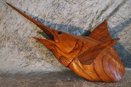 Picture of swordfish made of wood
